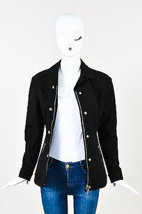 Prada Silver Tone Denim Black Jacket