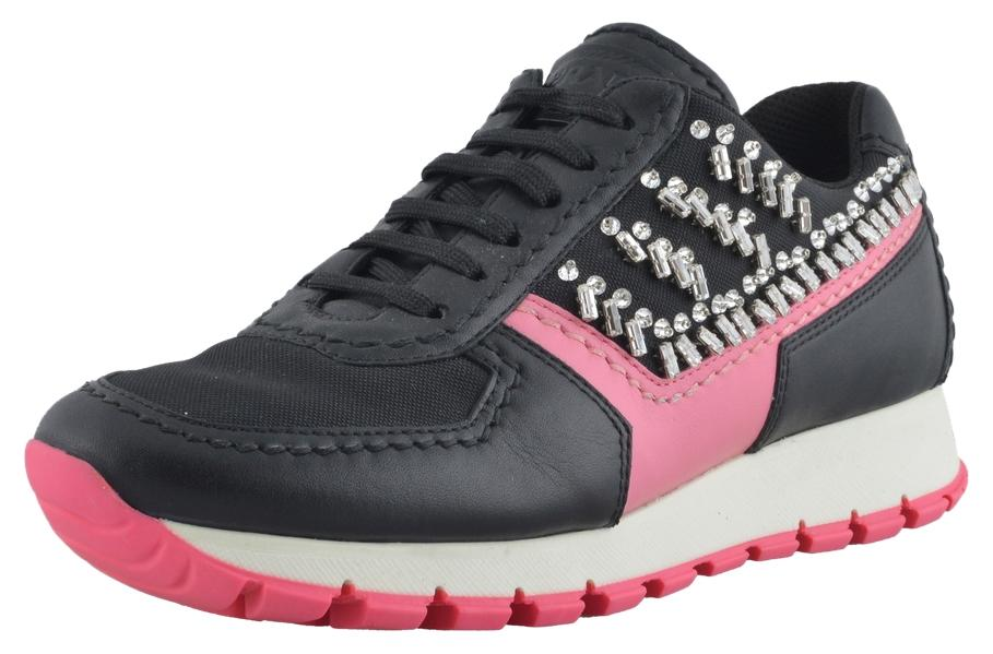 Prada Black / Begonia Leather Beads Decorated Fashion Sneakers Sneakers Size US 7.5 Regular (M, B)