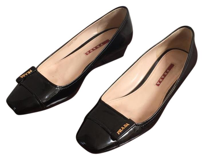 Prada Black Buckle Pump Wedges Size US 8.5 Regular (M, B)