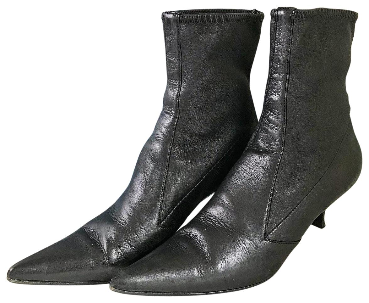 Prada Leather Pointed-Toe Booties for sale the cheapest YenpeoDnx