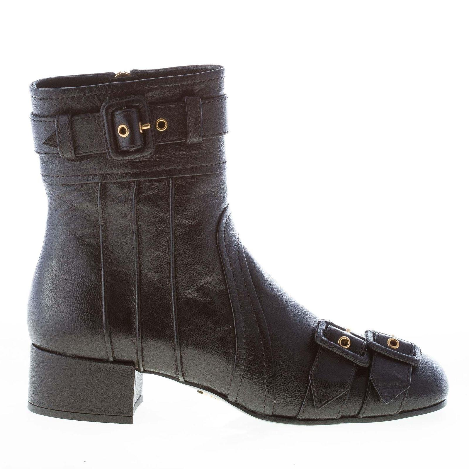 5277873d3 Prada Black Leather Ankle Straps and Buckles Boots/Booties Size EU 37  (Approx.