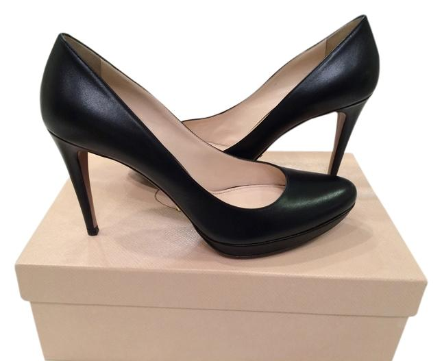 Prada Black Leather Padded Insole Platform Sexy Excellent Condition Pumps Size US 9 Regular (M, B)