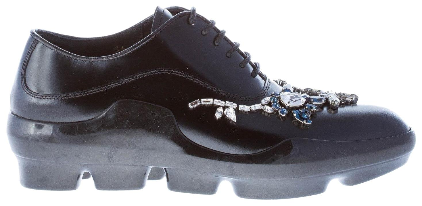 Prada Black Polished Leather Sneaker-style Oxford With Sneakers Size EU 35.5 (Approx. US 5.5) Regular (M, B)