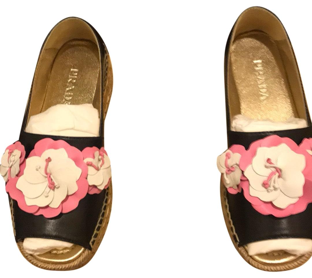 Prada Black with Pink and White Flower Peep Toe Espadrilles Wedges Size US 5.5 Regular (M, B)