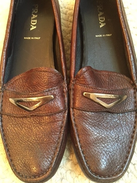 1b0a0f7a306 ... sale prada driving moccasin loafers soft pebbled leather brown flats.  1234567 af5ac d3b50