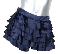 Prada Womens Casual Silk Satin Tiered Ruffle 42us Shorts Indigo