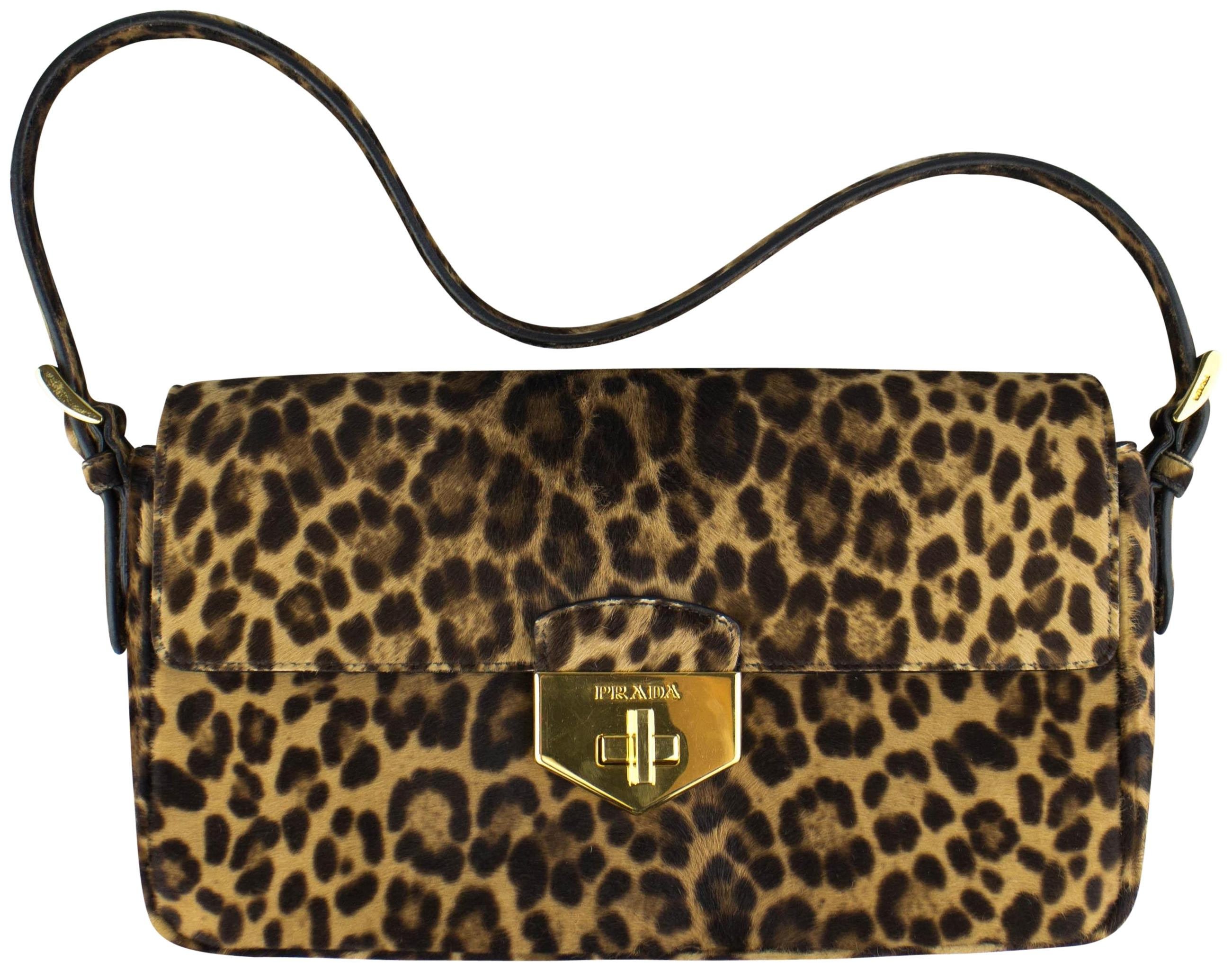ed2f833016b3 ... netherlands prada calf hair leather gold hardware leopard shoulder bag  2fd6f bcbc4