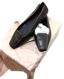 Prada Choclate Stitching Chocolate Brown Flats