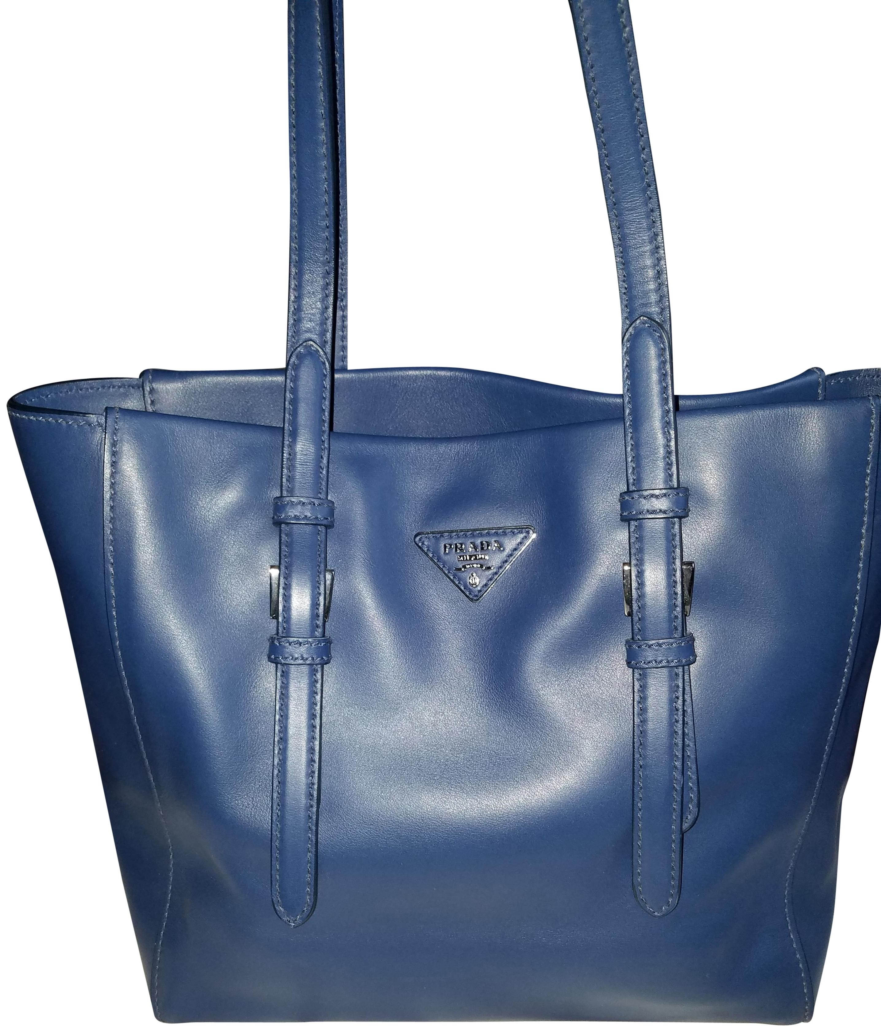 930602f296fb ... reduced prada leather bluette city sport tote in blue 8f93d e80a1