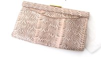 Prada Blush Python Snakeskin Print Gold Wallet Evening Pink Clutch