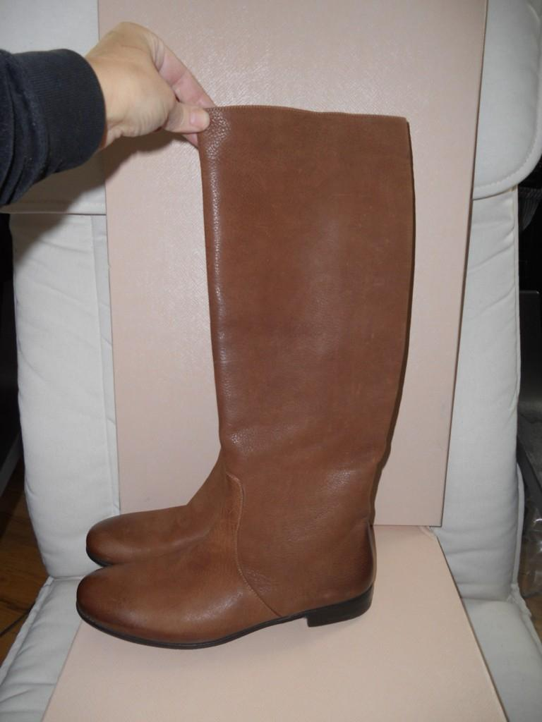 1f671f34002d ... Prada Cognac Brown Brushed Leather Tall Flat Riding Riding Riding Knee  High 37.5 Boots Booties ...