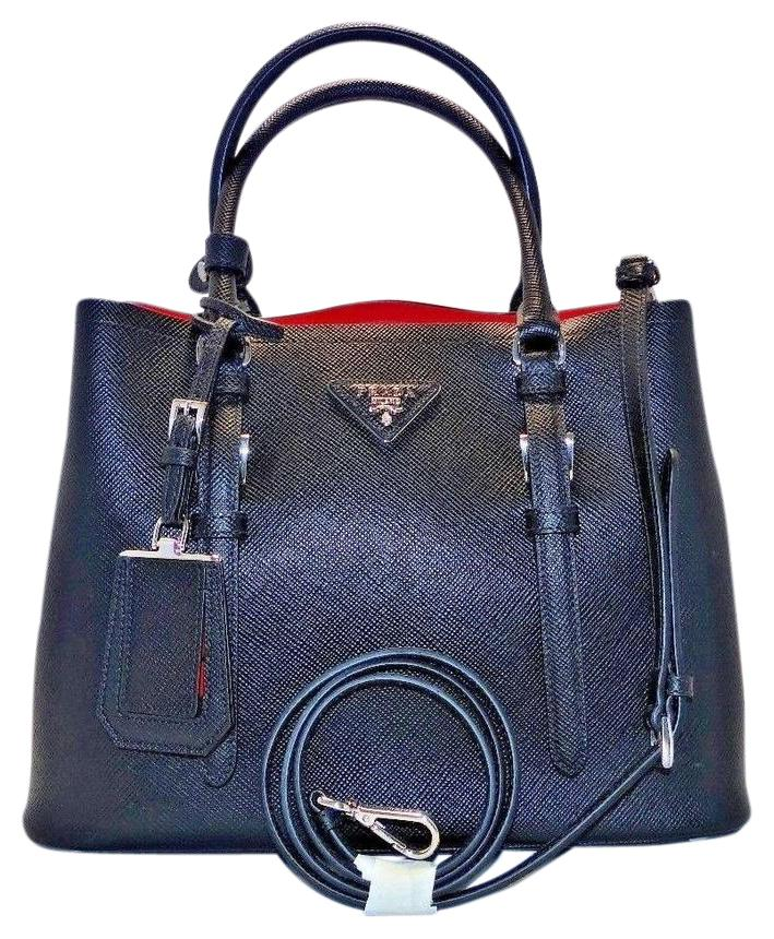 04de67f4ad ... wholesale added to shopping bag. prada double bag saffiano cuir  convertible tote black red inside