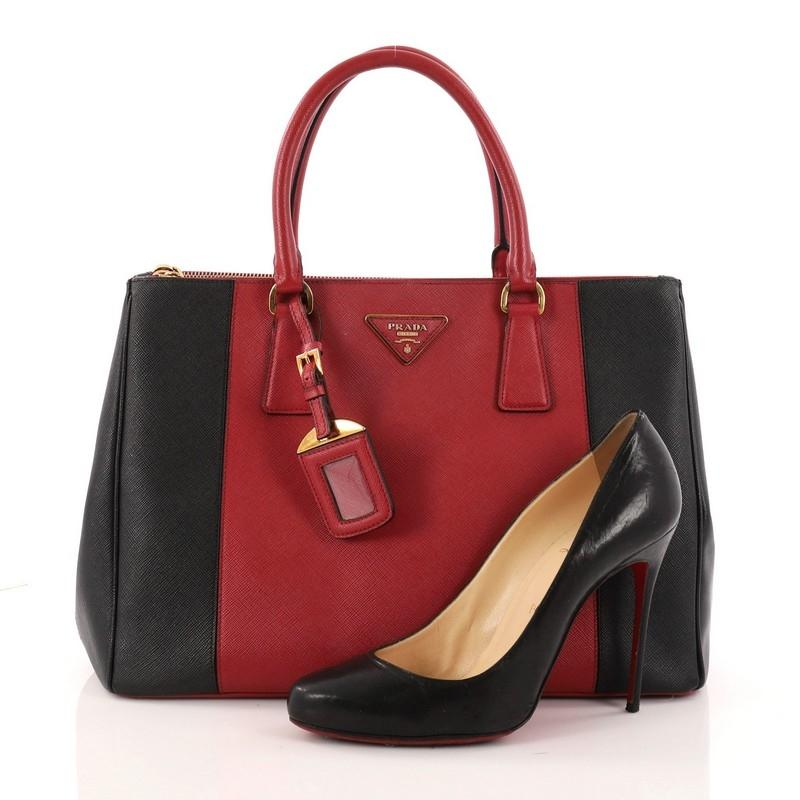 0a3219b3561c ... denmark prada double bicolor zip lux saffiano medium black and red  leather tote b7e83 eacf0