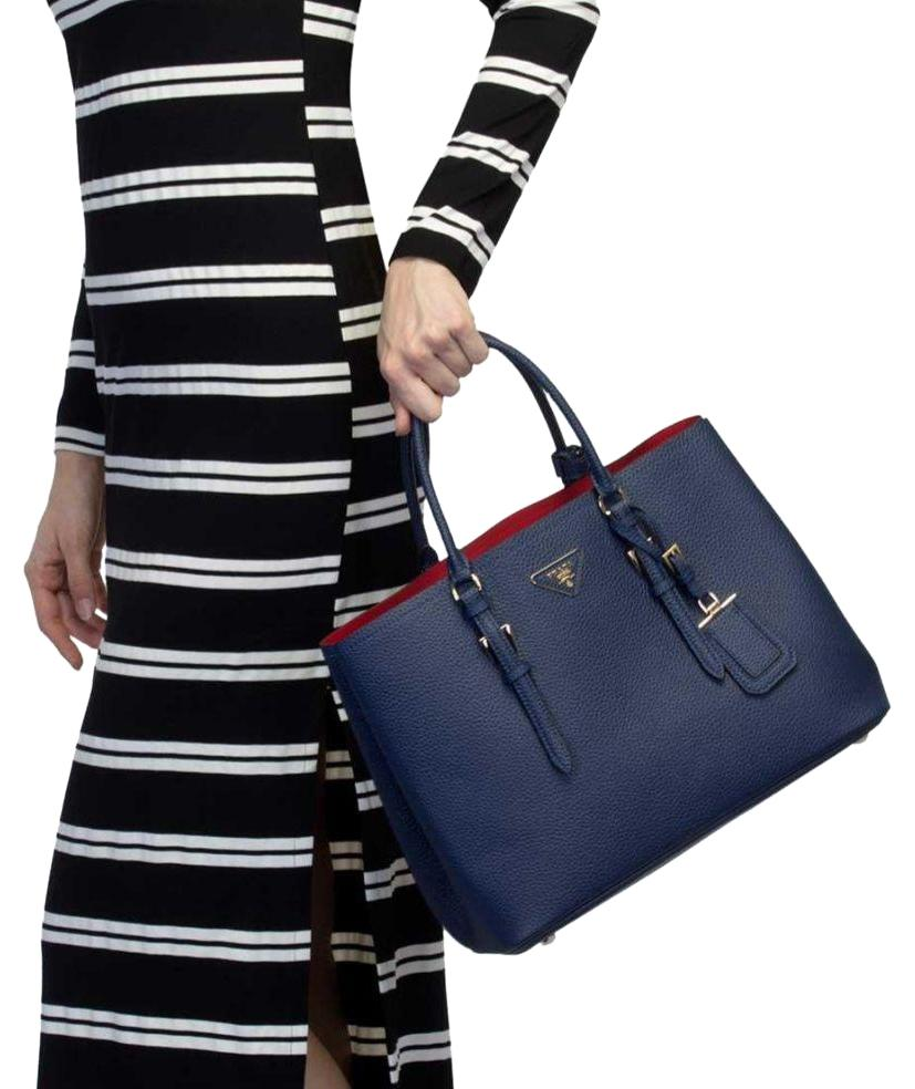 a7587d286e12 promo code for prada tote black saffiano leather double bag red inside  brand new b5368 8fa32; hot prada tote in blue red 0331a b1637