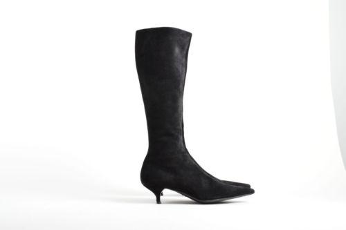 prada black suede leather pointed toe knee high zippered
