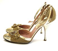 Prada Gold Heels Ankle Pumps