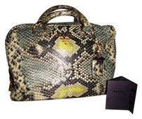 Prada Leather Italian Luxury Python Satchel in Brown