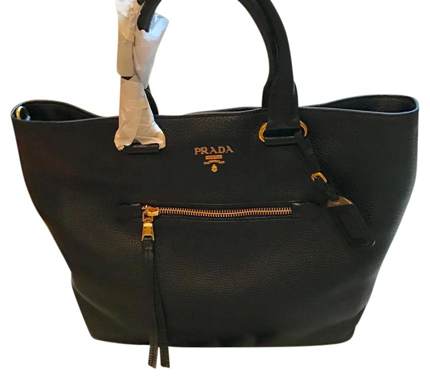 PRADA leather large shopping tote and crossbody