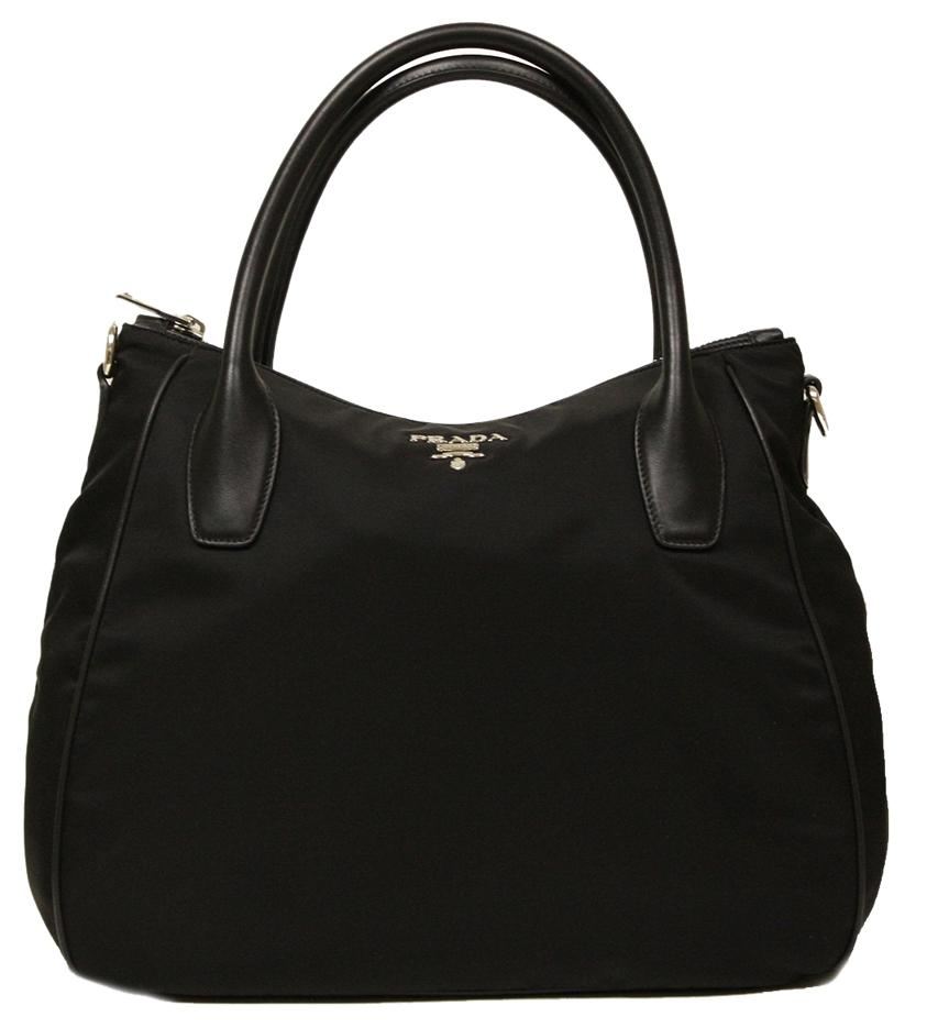 Prada Tessuto Soft Calf Leather And Nylon Handbag Br4992 Hobo Bag ...