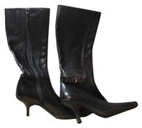 Prada Leather Zippered Womens Black Boots