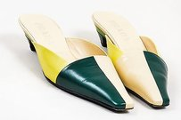 Prada Green Yellow Beige Multi-Color Mules
