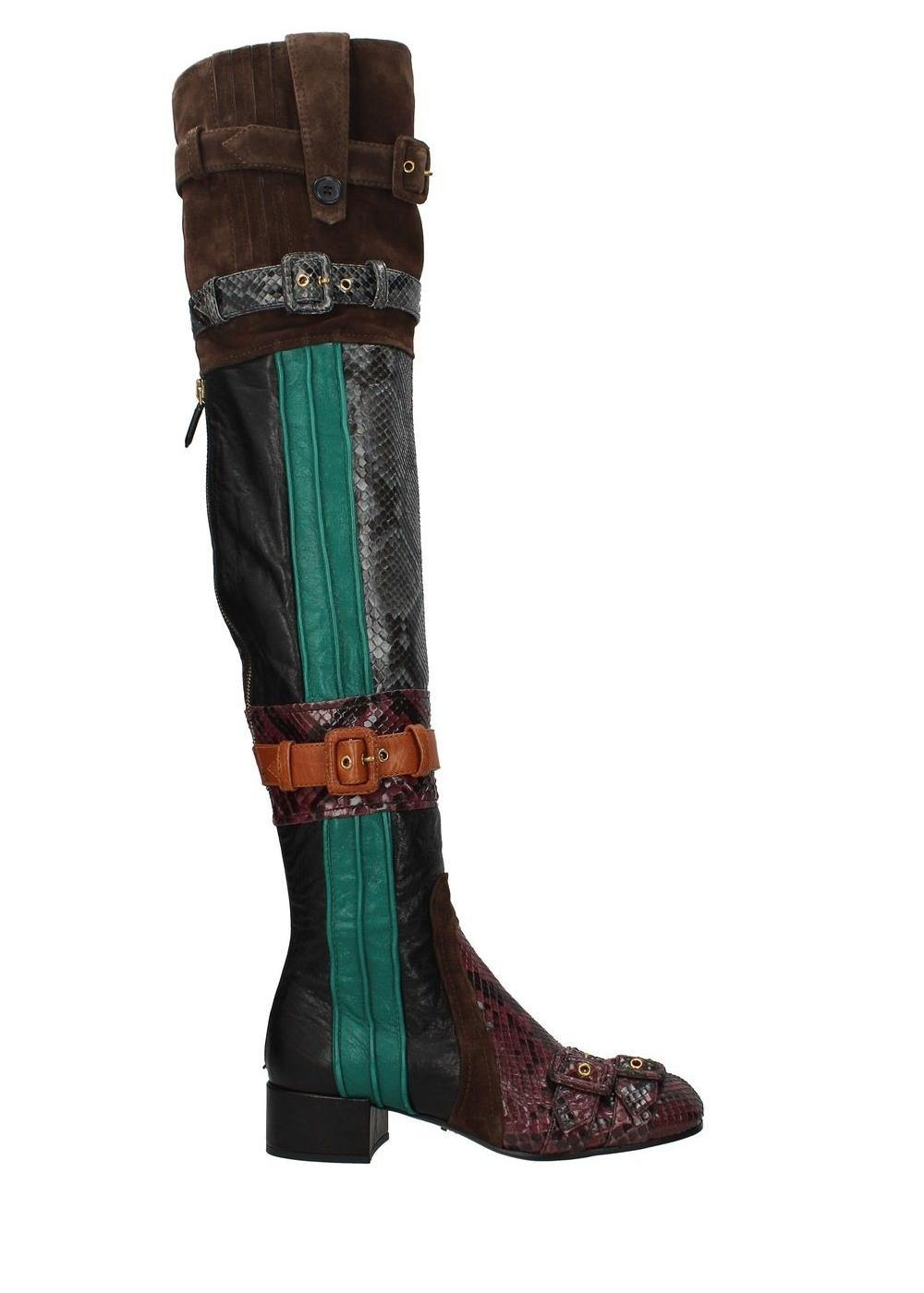b767d1432957 Prada Multicolor Leather Python Boots Booties Size EU 37 37 37 (Approx. US