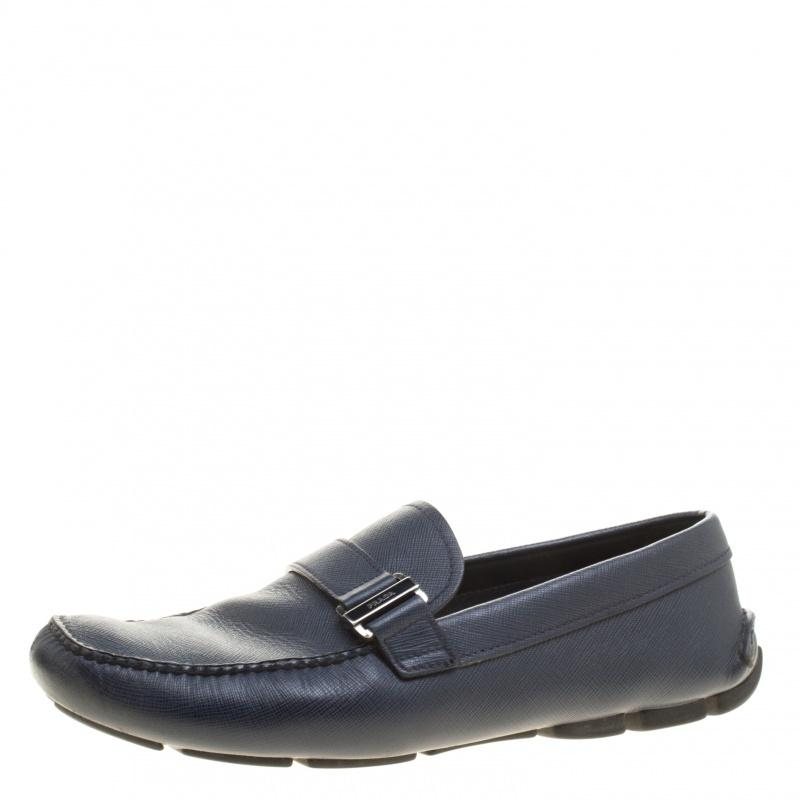 Prada Navy Blue Loafers Formal Shoes Size EU 41 (Approx. US 11) Regular (M, B)