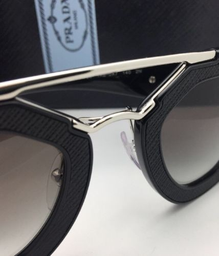 64bb76a0b550b ... low cost prada new spr 14s 1ab 0a7 black leather silver frame w grey  fade sunglasses