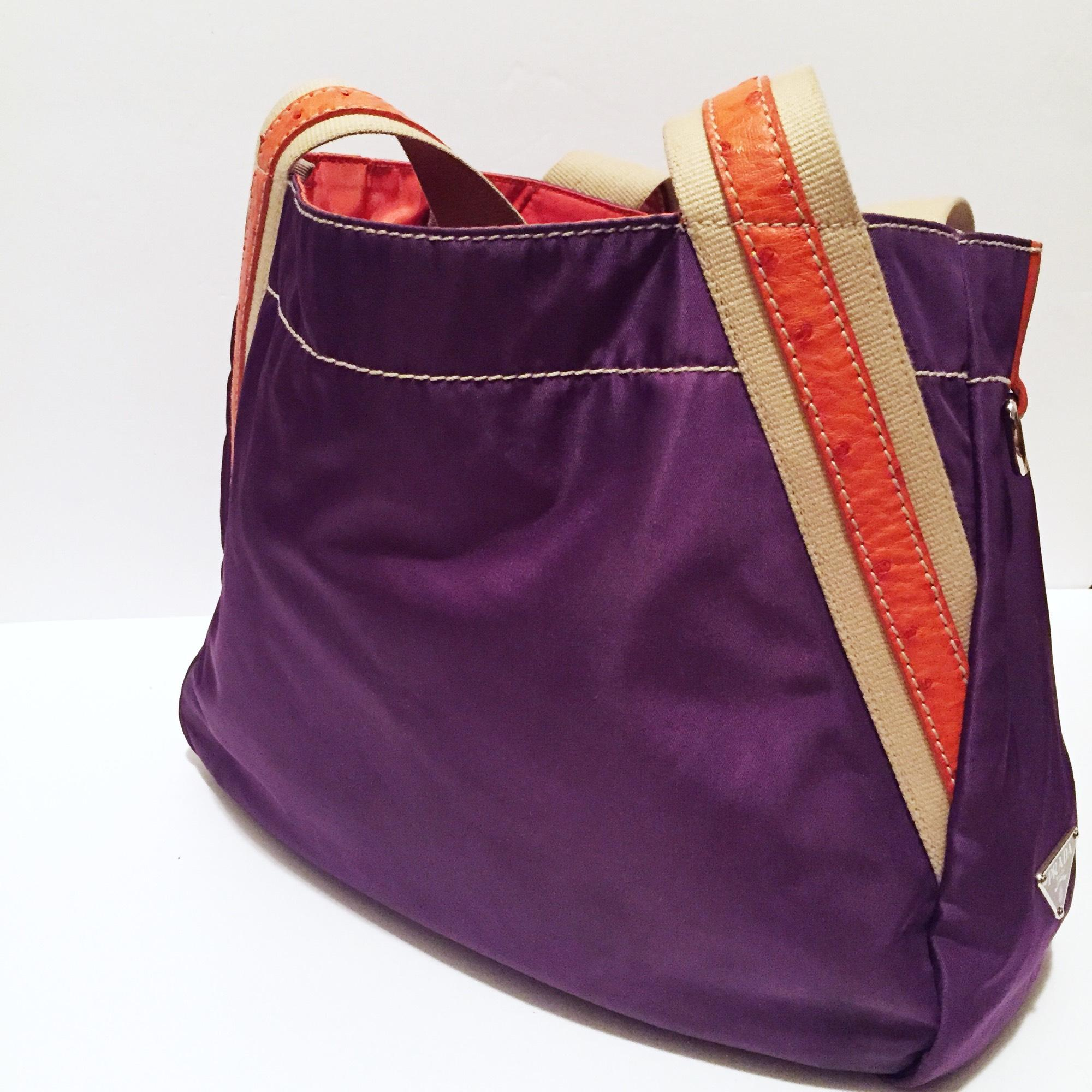 e4b5bea936c9fe ... canada prada orange ostrich tote with brooch charms purple nylon  satchel tradesy 9fc3b e7e93