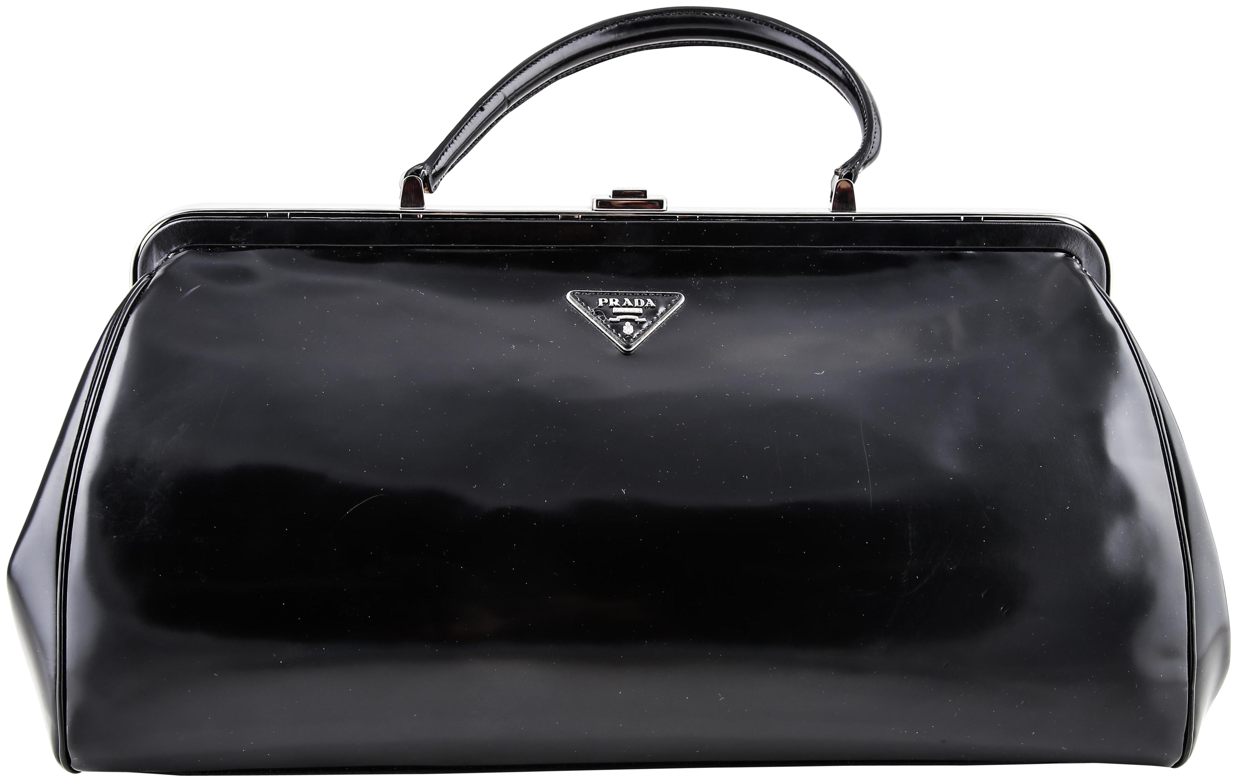 96ae95dcc97a28 clearance prada patent leather top handle bag black c3846 69547