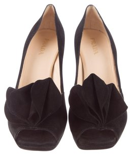 Prada Peep Toe Suede Black Pumps