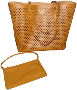 Prada Saffiano Perforated Cosmetic Tote in Brown