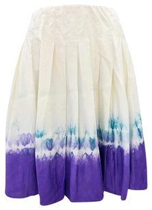 Prada Pleated Silk Dip Dye Comfortable Flowy Skirt Ivory, Purple, Blue
