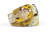 Prada Prada Green Yellow Brown Snakeskin Python Leather Buckle Belt 85