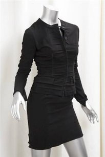 Prada Prada Womens Black Long-sleeve Jacketstraight Pencil Skirt Suit Outfit 382