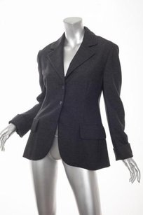 Prada Prada Womens Charcoal Gray Long-sleeve Two-button Blazer Jacket Coat 448