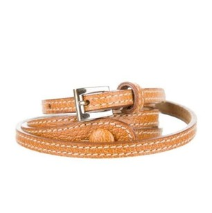 Prada Prada Womens Classic Casual Tan Light Brown Leather Skinny Thin Belt