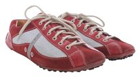 Prada Reflective Leather Nylon Driving Car Nubby Rubber Suede Metallic Italian Red and Silver Athletic