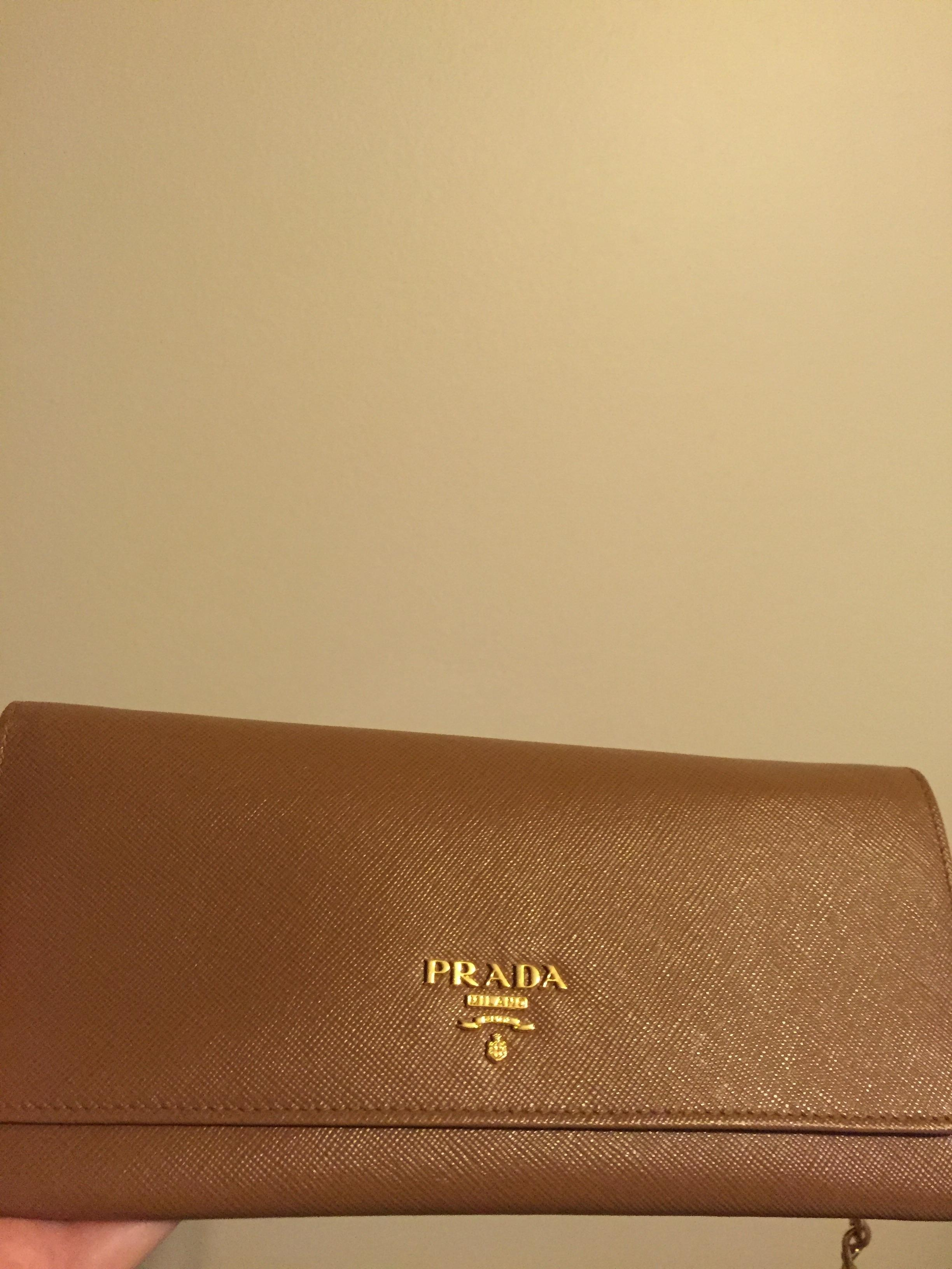 af105dc3c204 canada prada saffiano chain wallet tan nude leather cross body bag tradesy  7d5a4 504ca