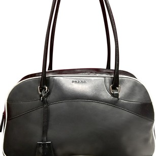 Prada Satchel in Black With White Trim