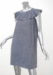 Prada short dress Blue Womens Linen Ruffle Collar Sleeveless Shift 404 on Tradesy