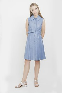 Prada short dress Blue Light Leather Collared Sleeveless Belt Pleated Button Down 238 on Tradesy