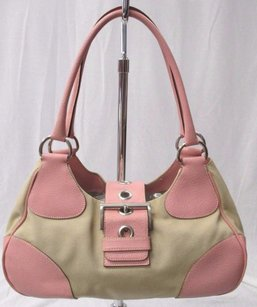 Prada Tan Canvas Leather Shoulder Bag