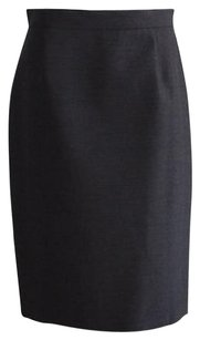 Prada Charcoal Wool Blend Fully Lined Classic Pencil Skirt Gray