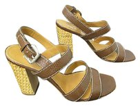 Prada Leather Strappy Sandals With Basket Weave Chunky Heel 12 Brown Pumps