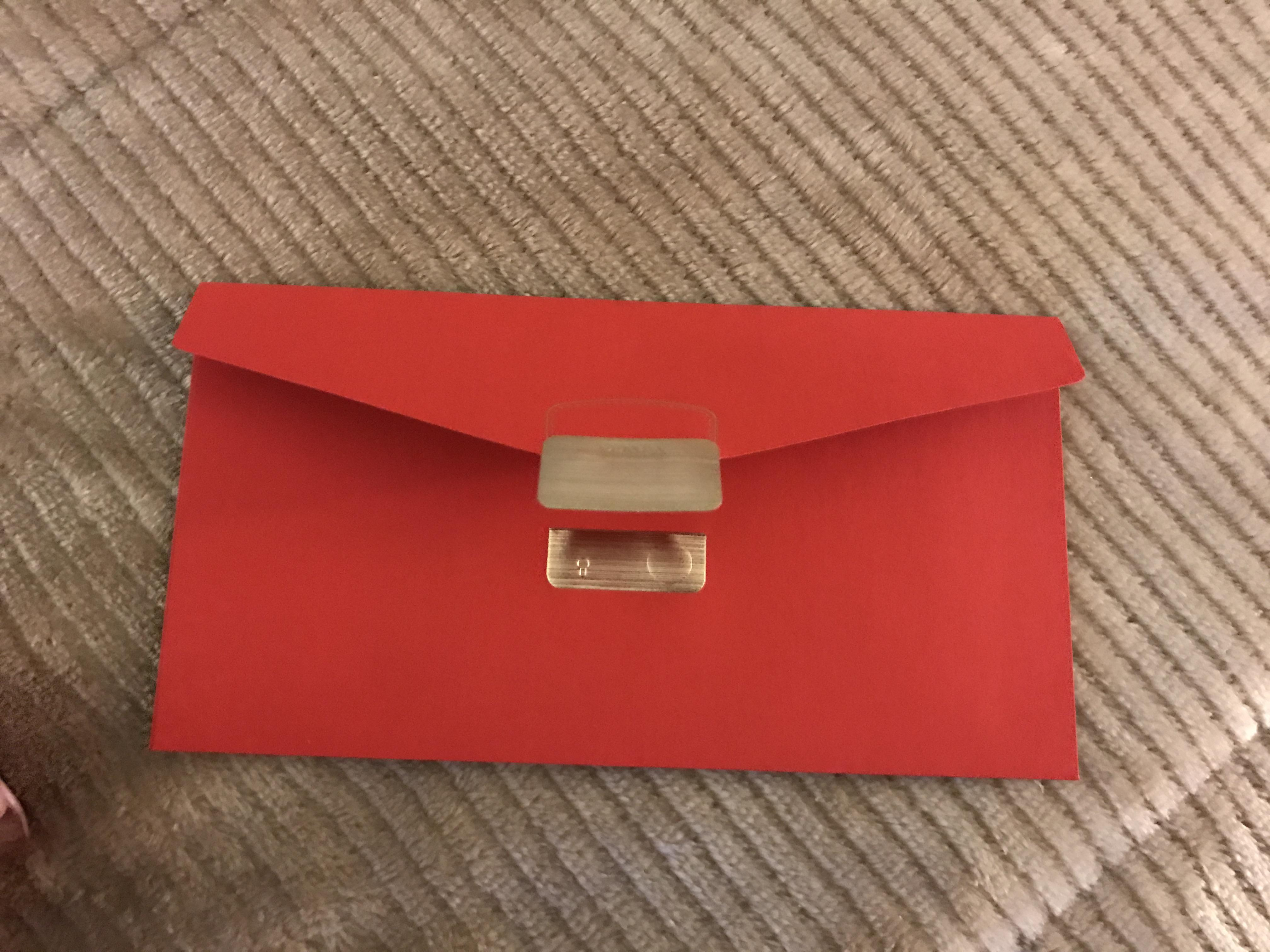 Prada New Envelope Red And Gold Paper Card Stock Clutch Tradesy
