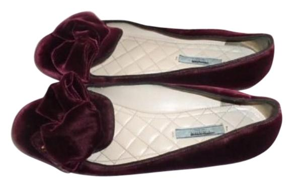 Prada Velvet Round-Toe Flats authentic sale online new styles for sale outlet online free shipping amazing price low shipping fee cheap online WNUDOO