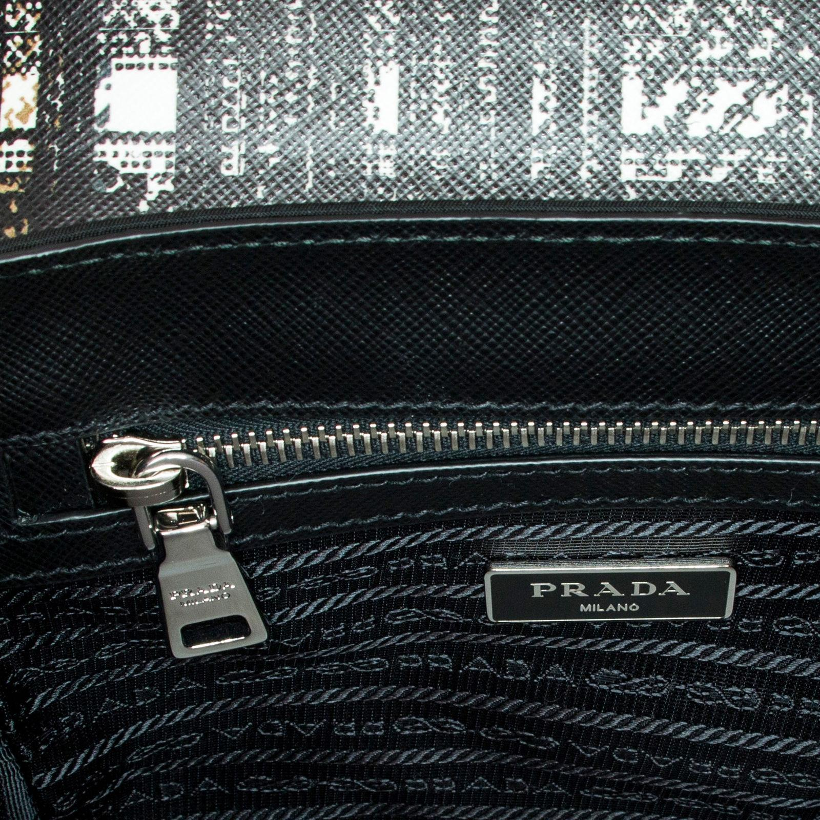 d424d66d3a ... cheap prada womens tartan and saffiano top handle black white satchel  f3732 e2a19