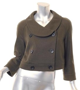 Proenza Schouler Proenza Womens Wool Blend Cropped Peacoat Coat 6s Olive Jacket
