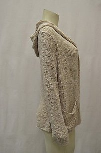 Project E Sand Hand Knit Hooded Open Front Cardigan 110989pk Sweater
